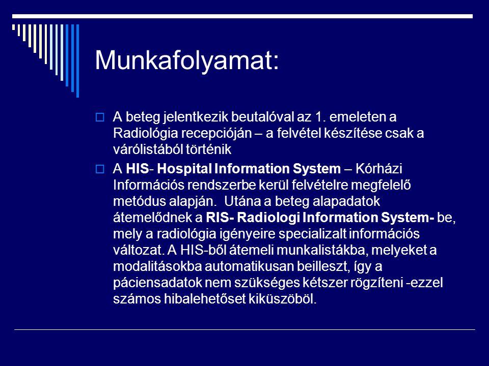 Munkafolyamat:  A beteg jelentkezik beutalóval az 1. emeleten a Radiológia recepcióján – a felvétel készítése csak a várólistából történik  A HIS- H