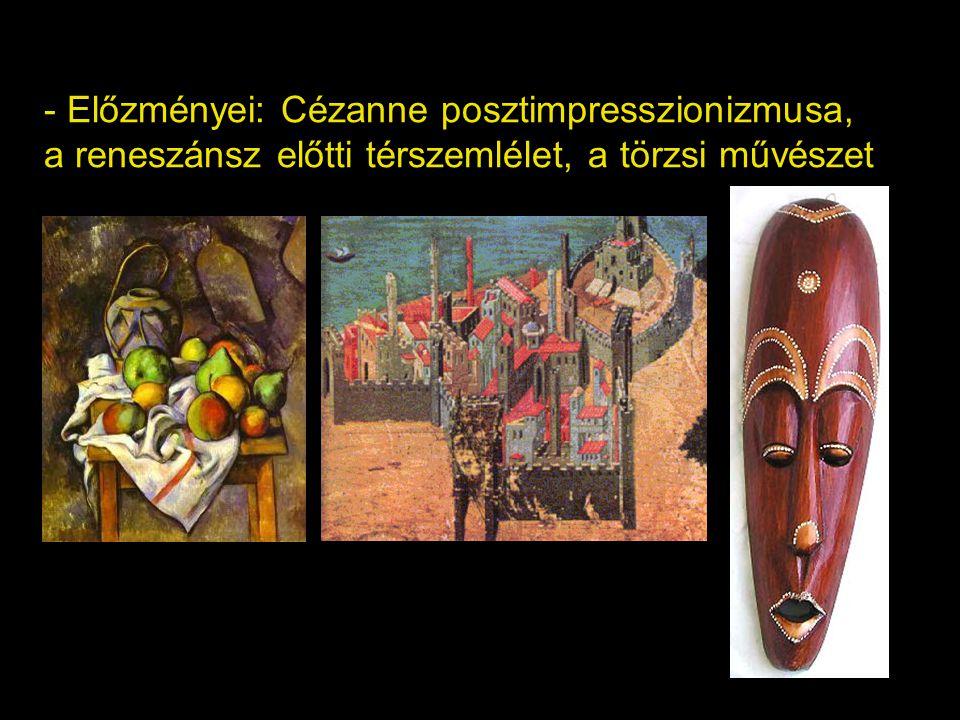 Cézanne-i kubizmus, (1907-09) - Hagyományos, egy nézőpontú képkivágat, de a teret alkotó tárgyak geometrikus alakzatokra egyszerűsödnek Braque
