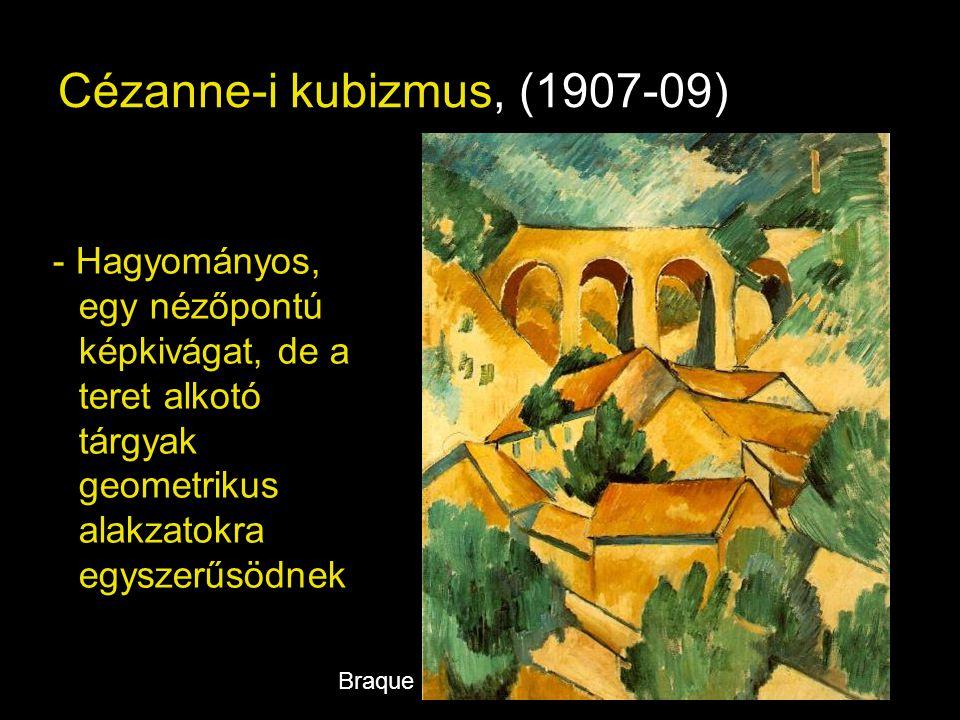 """Analitikus kubizmus (1910-12) - A festő elemzi, vizsgálja a teret és tárgyait - A tárgyak és a tér geometrikus alkotó elemeire bontva szétterül a vásznon - Célja a formák """"objektívebb, tárgyszerűbb ábrázolása - """"Monokróm csendéletek, portrék Picasso"""