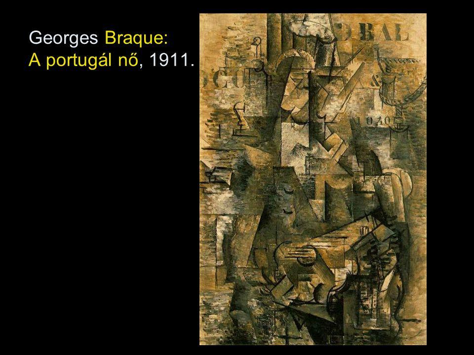 Szintetikus kubizmus (1912-14) - Összegzett, egységbe fogott formák -Stilizálás, játékosság: nem azonos a látvánnyal, csak utal rá - Kollázs technika: ragasztott kép, Braque