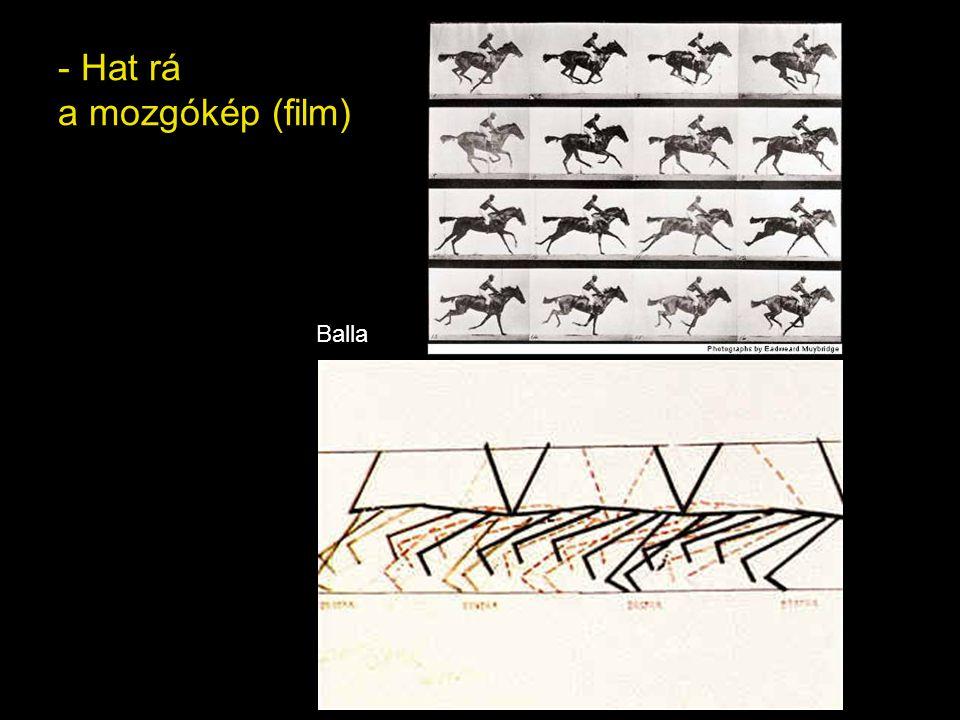 - A mozgás megjelenítésére törekszik: több mozdulat fázist próbál egy képbe sűríteni Giacomo Balla: A pórázon sétáltatott kutya dinamizmusa 1912
