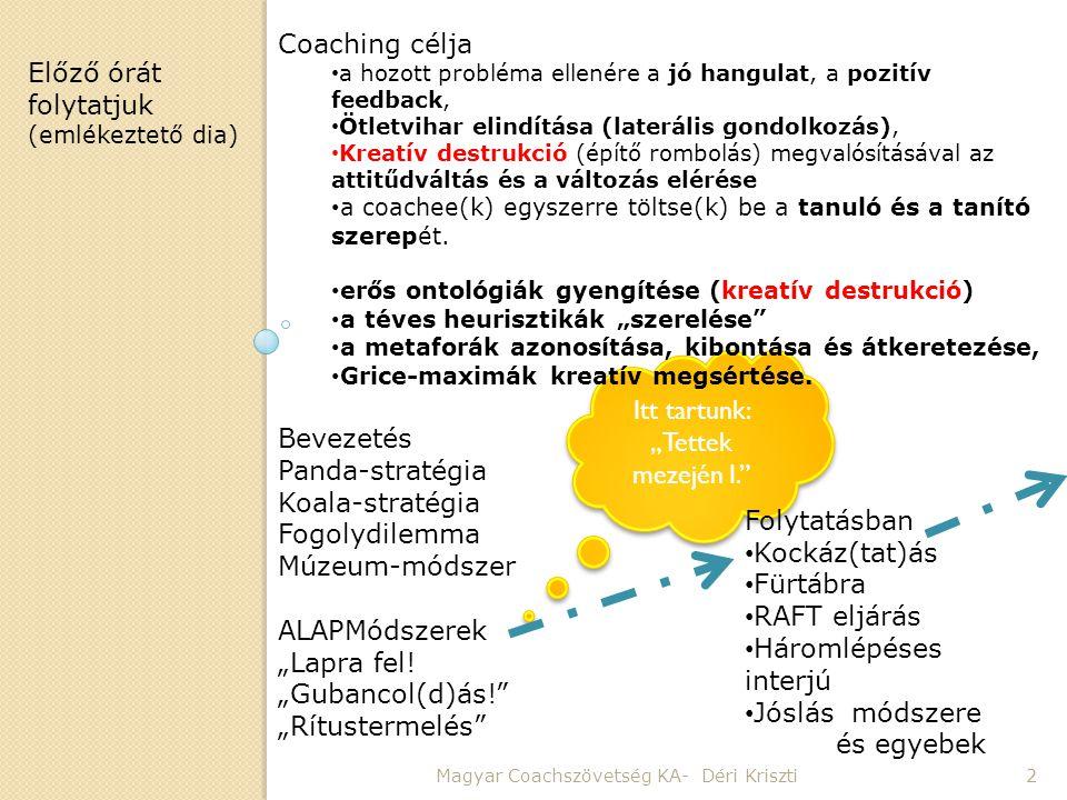 """Itt tartunk: """"Tettek mezején I."""" Magyar Coachszövetség KA- Déri Kriszti2 Coaching célja • a hozott probléma ellenére a jó hangulat, a pozitív feedback"""