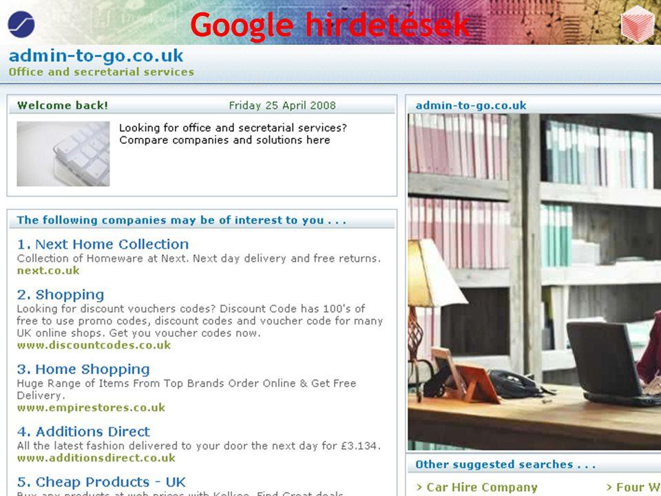 Pereszlényi Attila Web Spam Web Konferencia 2008. 04. 26 Google hirdetések