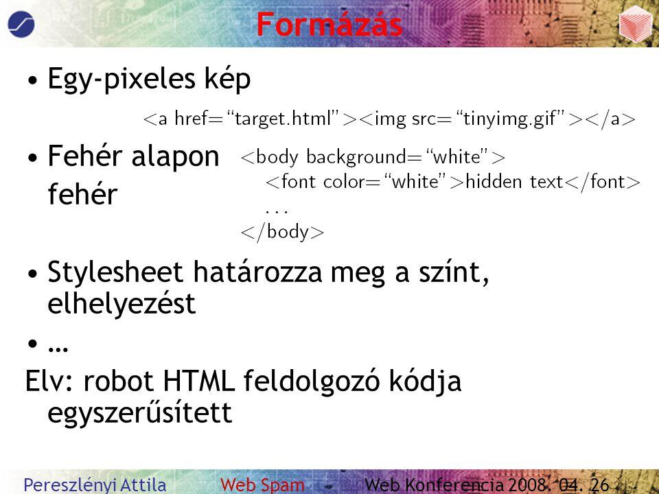 Pereszlényi Attila Web Spam Web Konferencia 2008. 04.