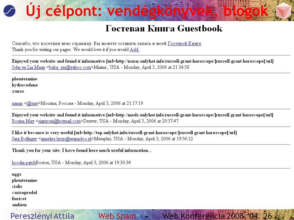Pereszlényi Attila Web Spam Web Konferencia 2008. 04. 26 Új célpont: vendégkönyvek, blogok