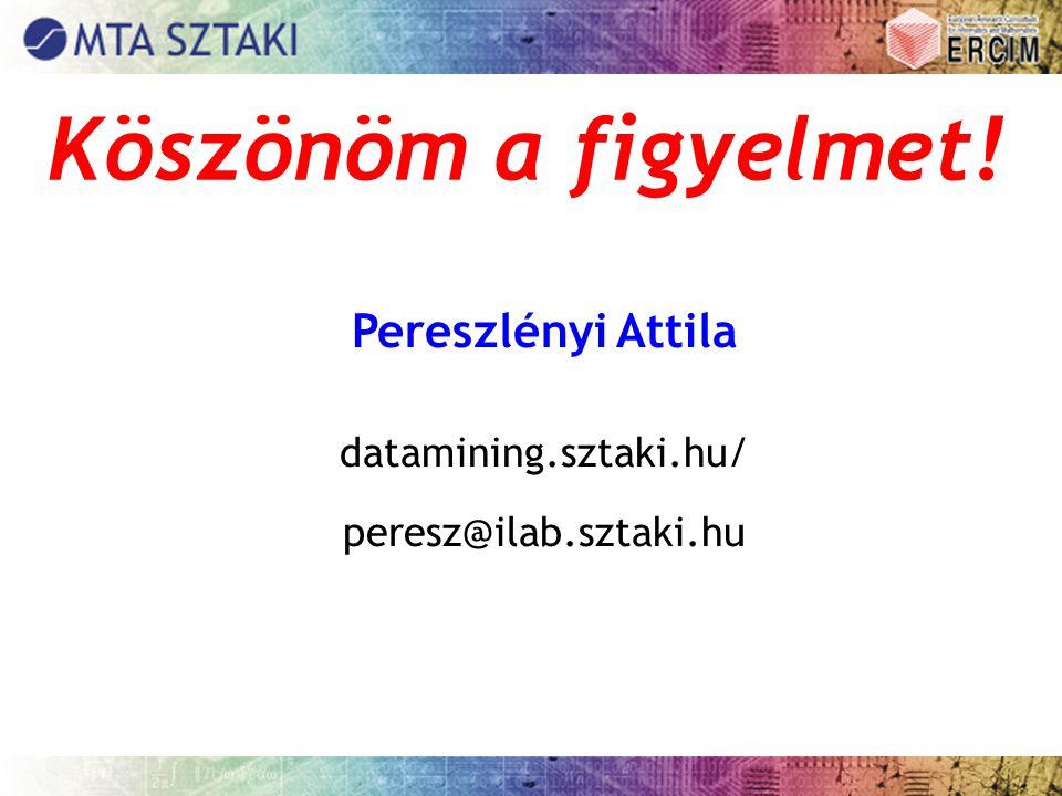Köszönöm a figyelmet! Pereszlényi Attila datamining.sztaki.hu/ peresz@ilab.sztaki.hu