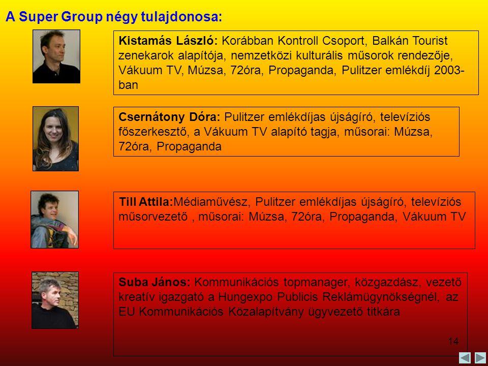 14 A Super Group négy tulajdonosa: Kistamás László: Korábban Kontroll Csoport, Balkán Tourist zenekarok alapítója, nemzetközi kulturális műsorok rende