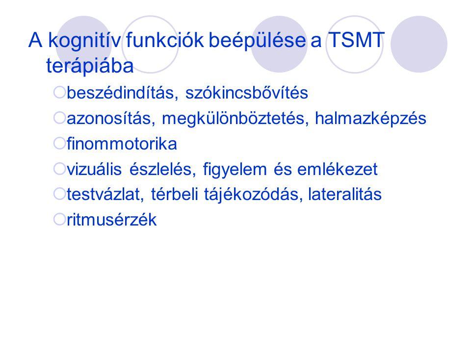 A kognitív funkciók beépülése a TSMT terápiába  beszédindítás, szókincsbővítés  azonosítás, megkülönböztetés, halmazképzés  finommotorika  vizuáli
