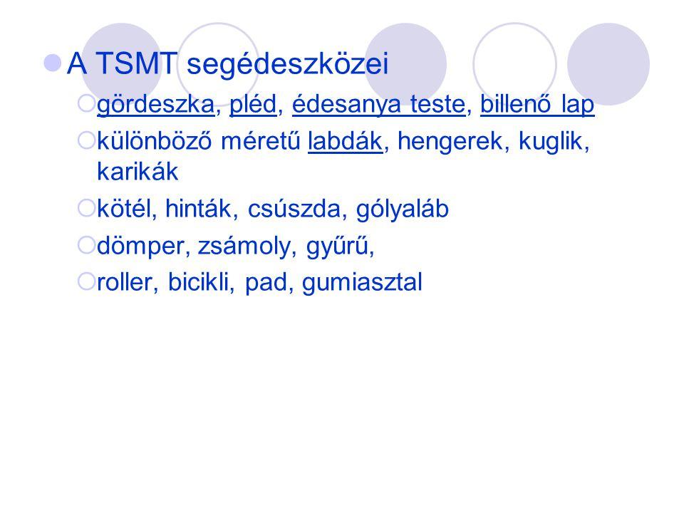  A TSMT segédeszközei  gördeszka, pléd, édesanya teste, billenő lap  különböző méretű labdák, hengerek, kuglik, karikák  kötél, hinták, csúszda, g