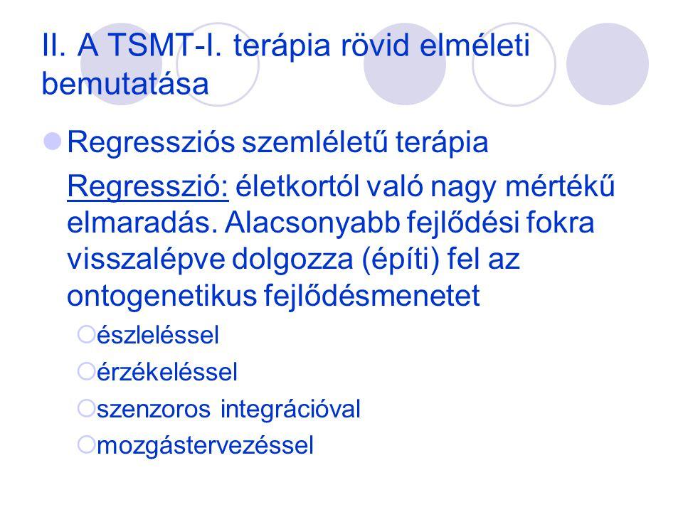 II. A TSMT-I. terápia rövid elméleti bemutatása  Regressziós szemléletű terápia Regresszió: életkortól való nagy mértékű elmaradás. Alacsonyabb fejlő