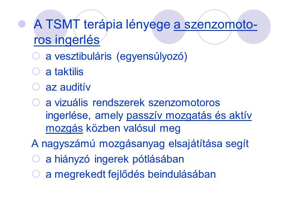  A TSMT terápia lényege a szenzomoto- ros ingerlés  a vesztibuláris (egyensúlyozó)  a taktilis  az auditív  a vizuális rendszerek szenzomotoros i