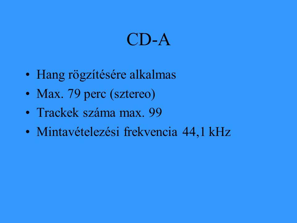 CD-A •Hang rögzítésére alkalmas •Max. 79 perc (sztereo) •Trackek száma max. 99 •Mintavételezési frekvencia 44,1 kHz