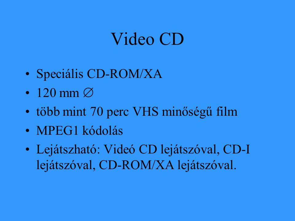 Video CD •Speciális CD-ROM/XA •120 mm  •több mint 70 perc VHS minőségű film •MPEG1 kódolás •Lejátszható: Videó CD lejátszóval, CD-I lejátszóval, CD-R