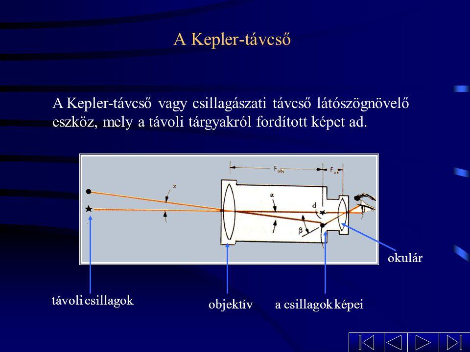 A távcső a Kepler-távcső a földi távcső a Galilei-távcső a binokuláris távcső Fajtái: A távcső (teleszkóp) a távoli tárgyak megfigyelésére szolgál, me