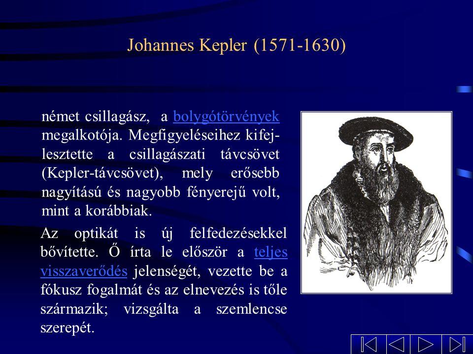 Galileo Galilei (1564-1642) Legfontosabb eredményeit a mechanikában és a csillagászatban érte el. Kifejlesztett holland mintára egy olyan távcsövet, m