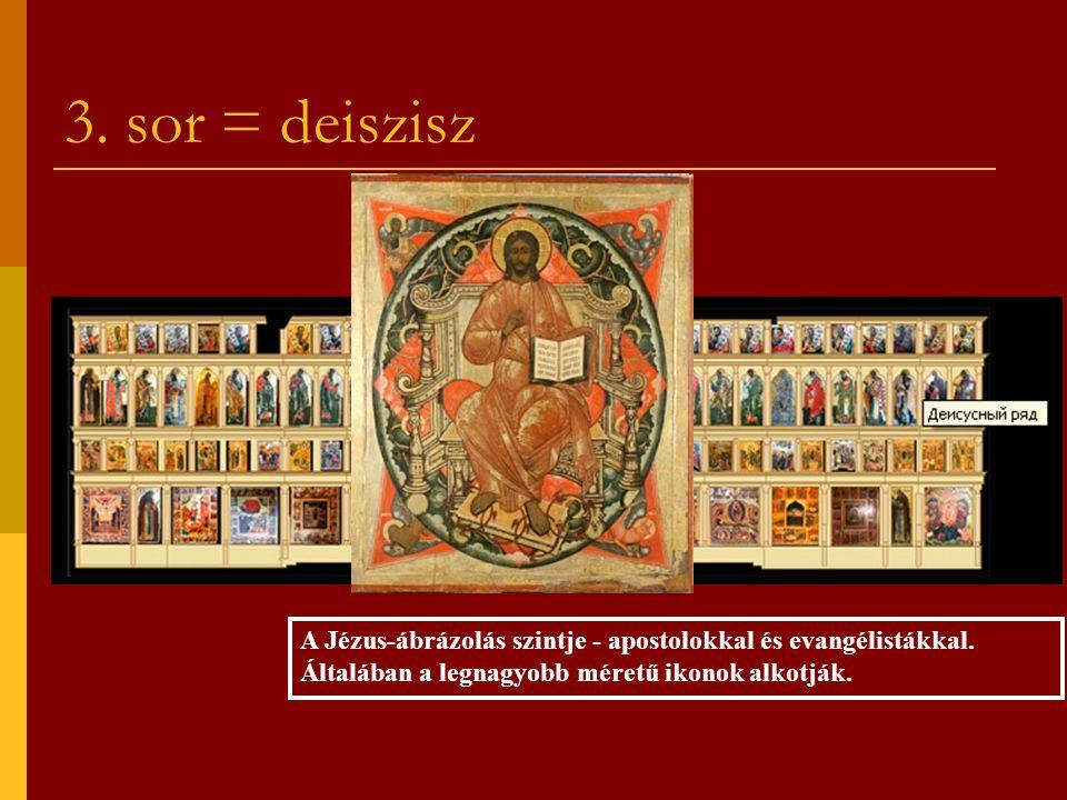 3. sor = deiszisz A Jézus-ábrázolás szintje - apostolokkal és evangélistákkal. Általában a legnagyobb méretű ikonok alkotják.