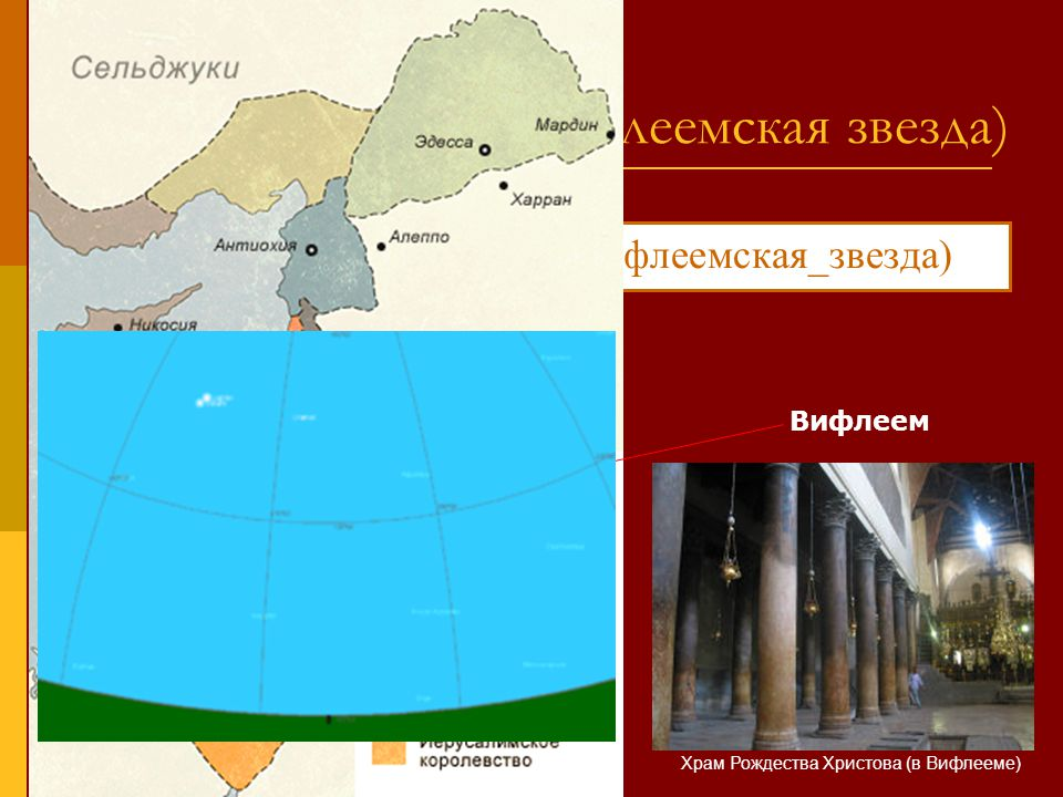 Bethlehemi csillag (Вифлеемская звезда) http://ru.wikipedia.org/wiki/Вифлеемская_звезда) Вифлеем Храм Рождества Христова (в Вифлееме)