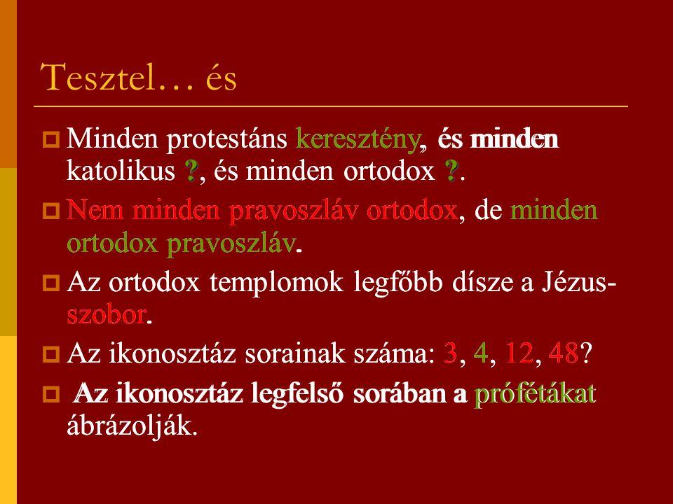 Tesztel… és ??  Minden protestáns keresztény, és minden katolikus ?, és minden ortodox ?.  Nem minden pravoszláv ortodox, de minden ortodox pravoszl