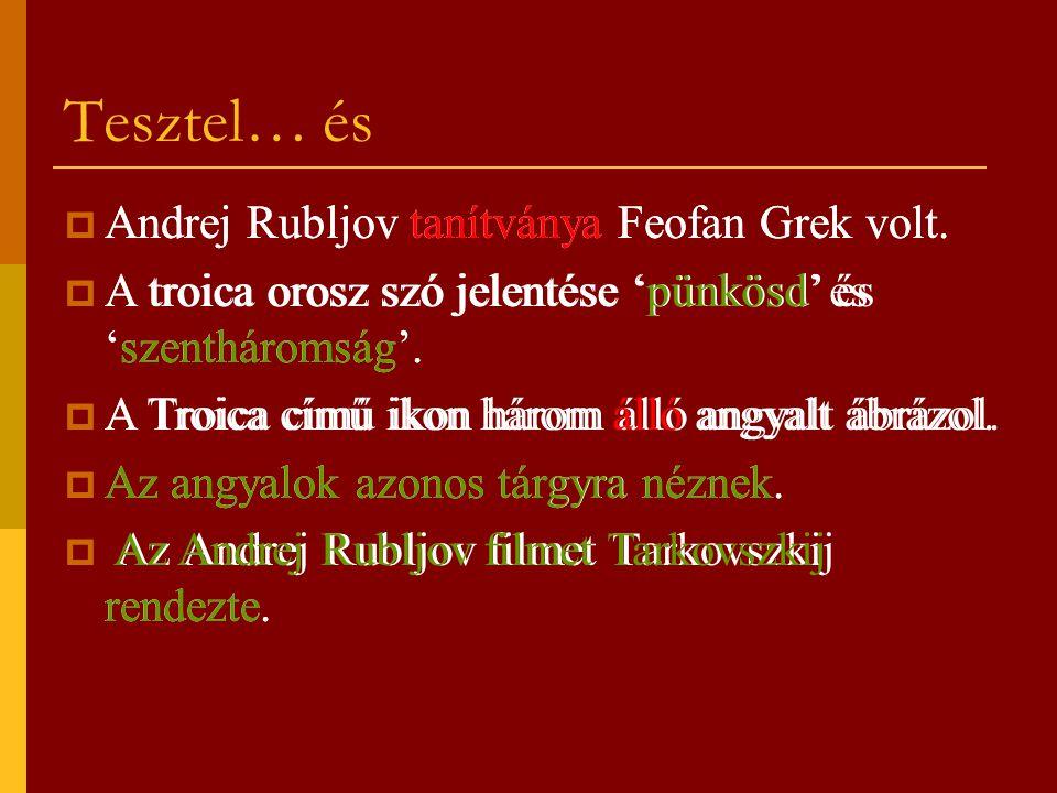 Tesztel… és  Andrej Rubljov tanítványa Feofan Grek volt.  A troica orosz szó jelentése 'pünkösd' és 'szentháromság'.  A Troica című ikon három álló