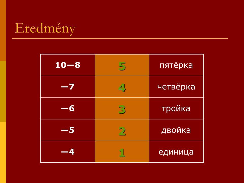 Eredmény 10—85 пятёрка —7—74 четвёрка —63 тройка —52 двойка —41 единица