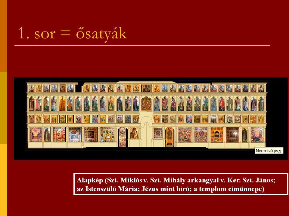 1. sor = ősatyák Alapkép (Szt. Miklós v. Szt. Mihály arkangyal v. Ker. Szt. János; az Istenszülő Mária; Jézus mint bíró; a templom címünnepe)