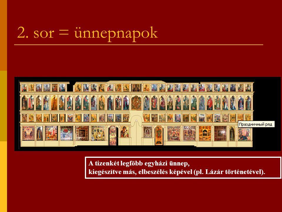 2. sor = ünnepnapok A tizenkét legfőbb egyházi ünnep, kiegészítve más, elbeszélés képével (pl. Lázár történetével).