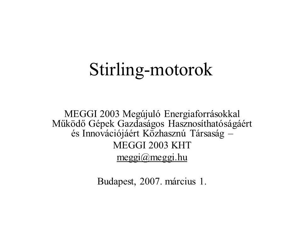 Stirling-motorok MEGGI 2003 Megújuló Energiaforrásokkal Működő Gépek Gazdaságos Hasznosíthatóságáért és Innovációjáért Közhasznú Társaság – MEGGI 2003