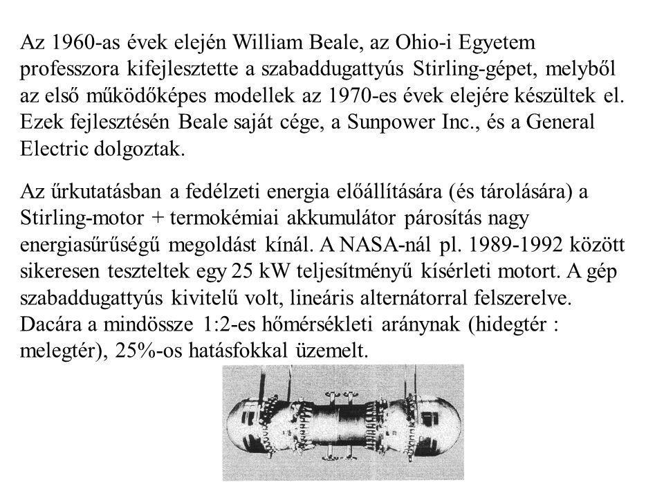 Az 1960-as évek elején William Beale, az Ohio-i Egyetem professzora kifejlesztette a szabaddugattyús Stirling-gépet, melyből az első működőképes model