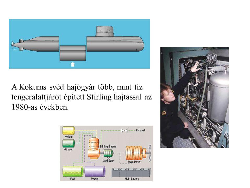 A Kokums svéd hajógyár több, mint tíz tengeralattjárót épített Stirling hajtással az 1980-as években.