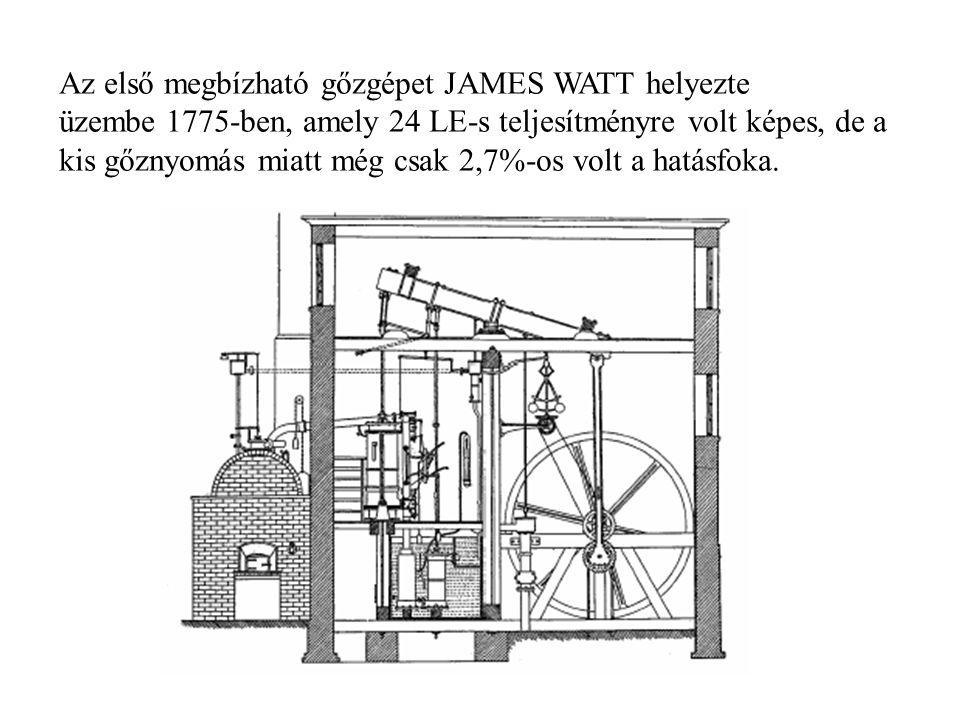 Az első megbízható gőzgépet JAMES WATT helyezte üzembe 1775-ben, amely 24 LE-s teljesítményre volt képes, de a kis gőznyomás miatt még csak 2,7%-os vo