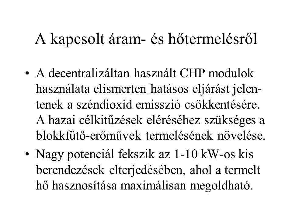 A kapcsolt áram- és hőtermelésről •A decentralizáltan használt CHP modulok használata elismerten hatásos eljárást jelen- tenek a széndioxid emisszió c
