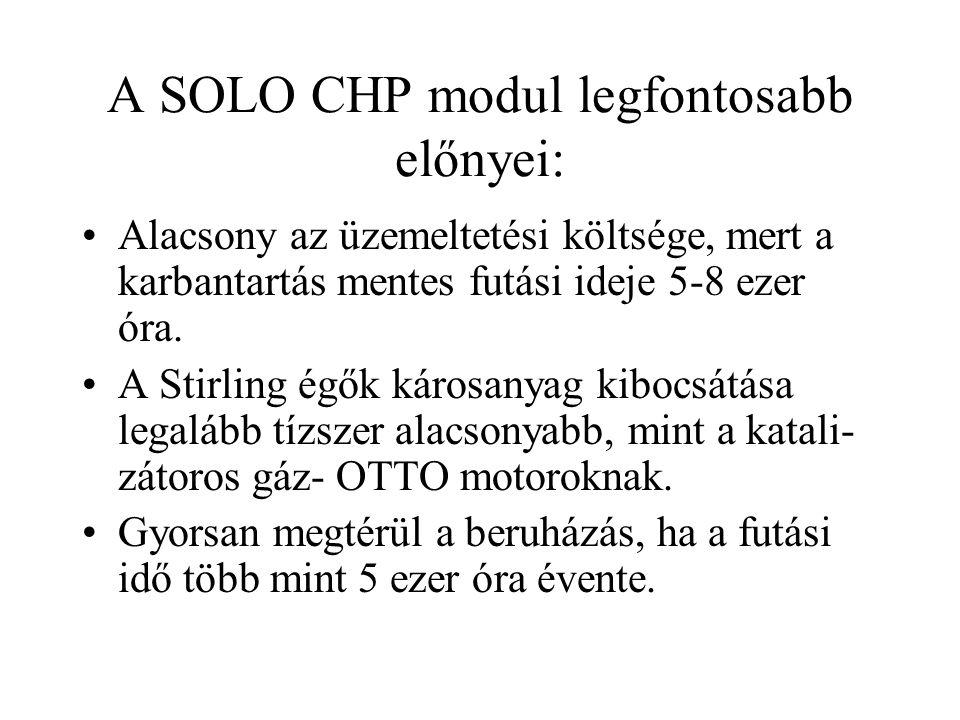 A SOLO CHP modul legfontosabb előnyei: •Alacsony az üzemeltetési költsége, mert a karbantartás mentes futási ideje 5-8 ezer óra. •A Stirling égők káro