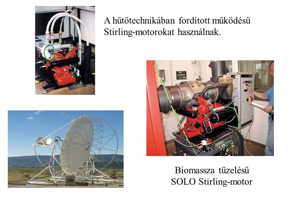 A hűtőtechnikában fordított működésű Stirling-motorokat használnak. Biomassza tüzelésű SOLO Stirling-motor