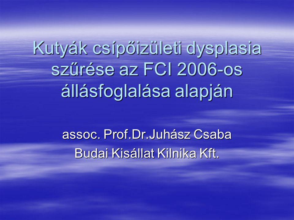 Kutyák csípőizületi dysplasia szűrése az FCI 2006-os állásfoglalása alapján assoc. Prof.Dr.Juhász Csaba Budai Kisállat Kilnika Kft.