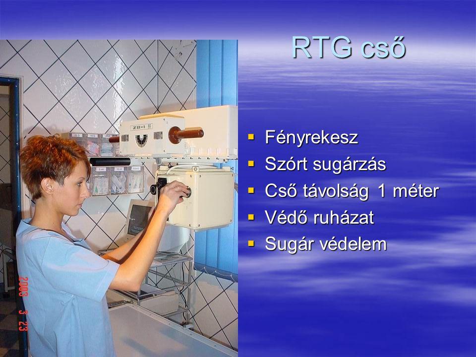 RTG cső  Fényrekesz  Szórt sugárzás  Cső távolság 1 méter  Védő ruházat  Sugár védelem