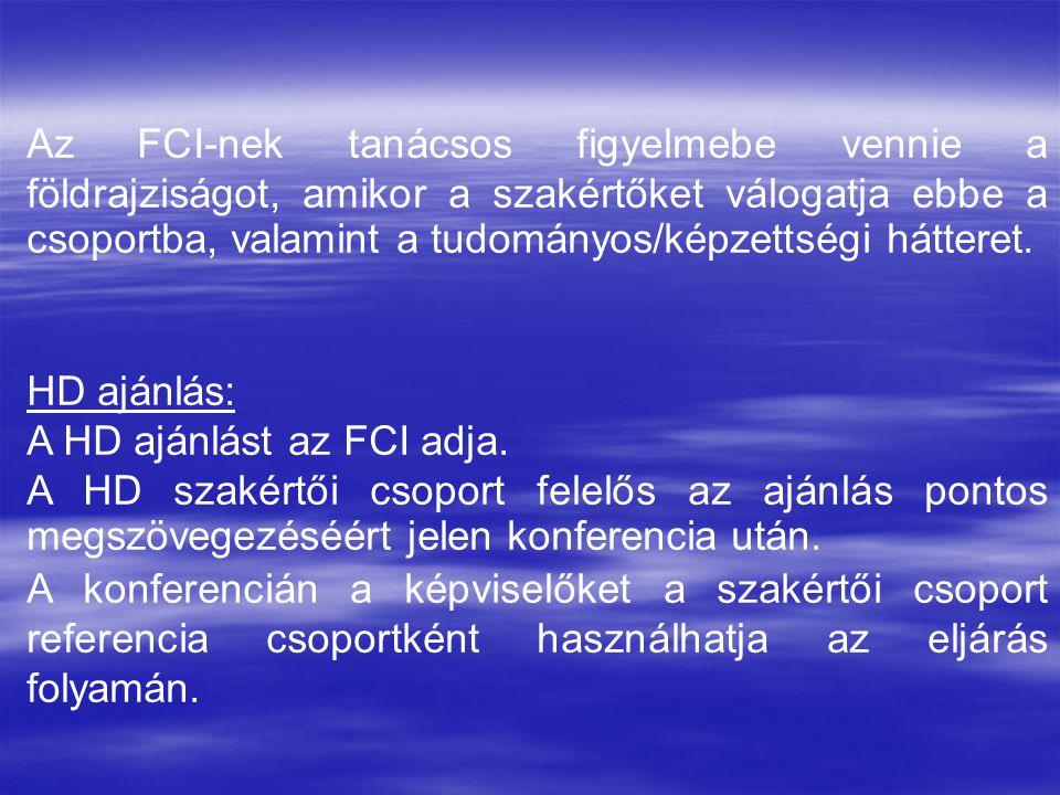 Az FCI-nek tanácsos figyelmebe vennie a földrajziságot, amikor a szakértőket válogatja ebbe a csoportba, valamint a tudományos/képzettségi hátteret. H