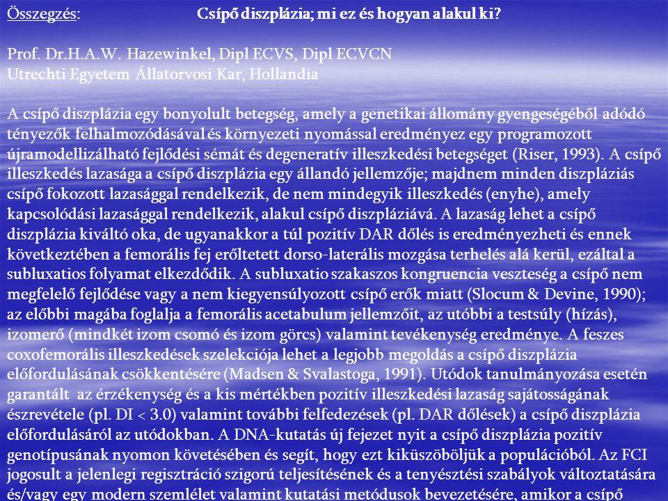 Összegzés: Csípő diszplázia; mi ez és hogyan alakul ki? Prof. Dr.H.A.W. Hazewinkel, Dipl ECVS, Dipl ECVCN Utrechti Egyetem Állatorvosi Kar, Hollandia