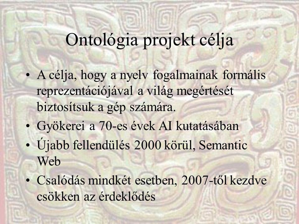 Ontológia projekt célja •A célja, hogy a nyelv fogalmainak formális reprezentációjával a világ megértését biztosítsuk a gép számára.