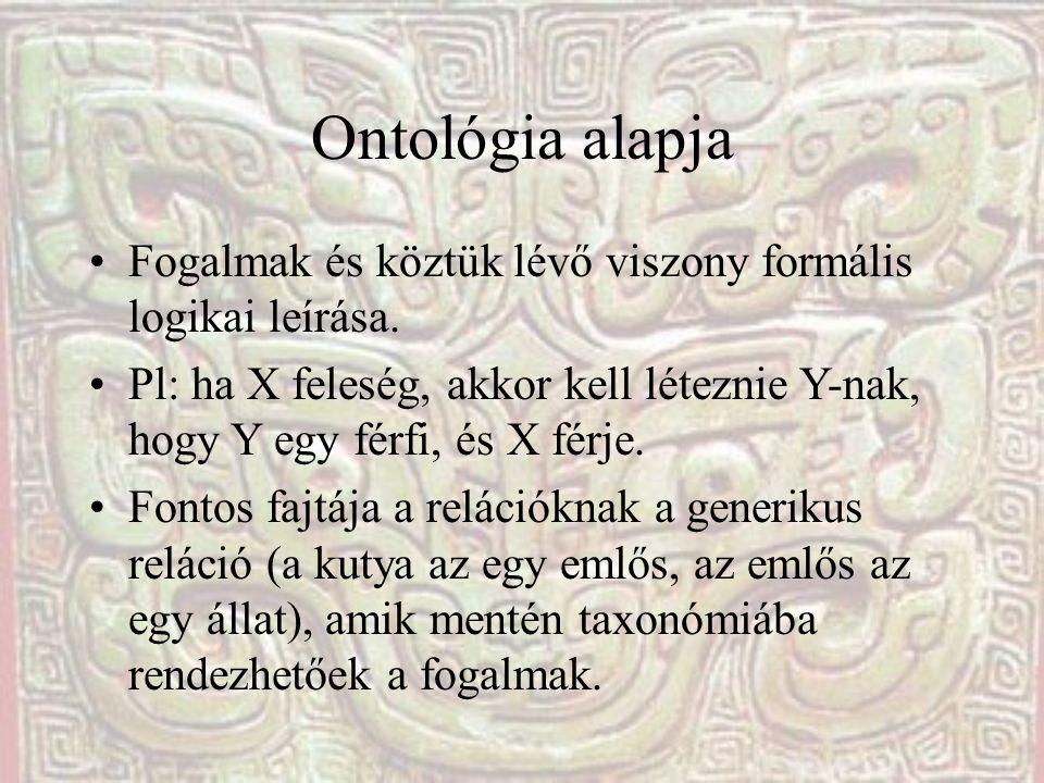 Ontológia alapja •Fogalmak és köztük lévő viszony formális logikai leírása.