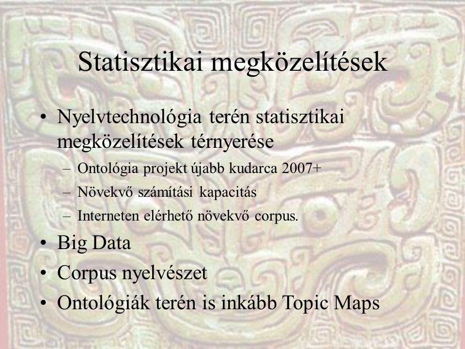 Statisztikai megközelítések •Nyelvtechnológia terén statisztikai megközelítések térnyerése –Ontológia projekt újabb kudarca 2007+ –Növekvő számítási kapacitás –Interneten elérhető növekvő corpus.