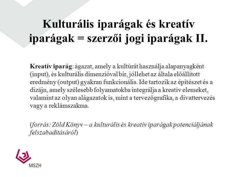 Kulturális iparágak és kreatív iparágak = szerzői jogi iparágak II.