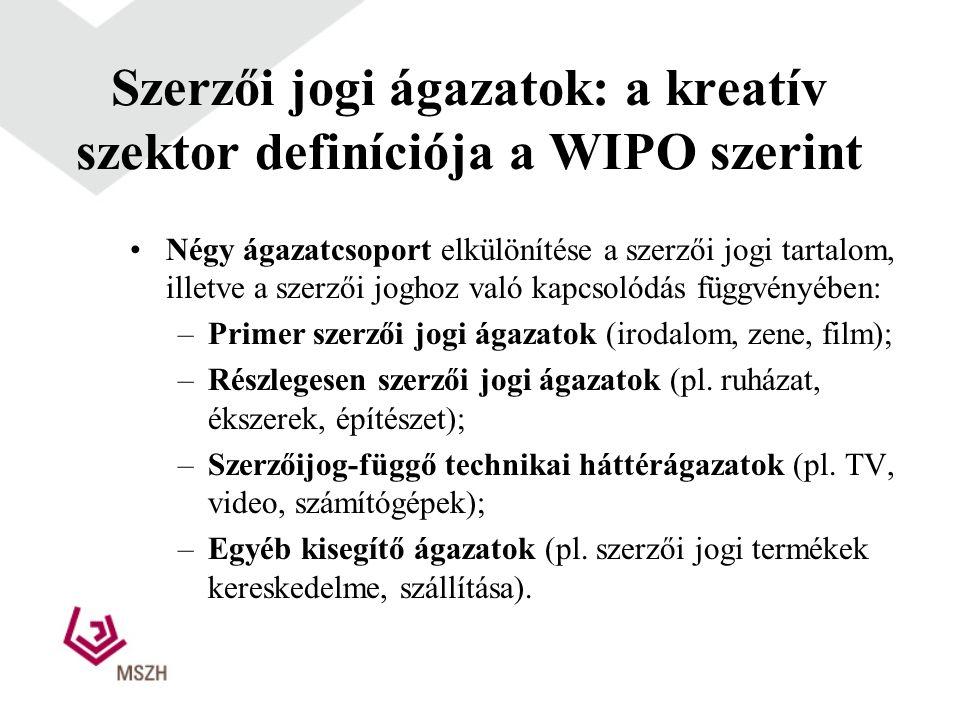 Szerzői jogi ágazatok: a kreatív szektor definíciója a WIPO szerint •Négy ágazatcsoport elkülönítése a szerzői jogi tartalom, illetve a szerzői joghoz való kapcsolódás függvényében: –Primer szerzői jogi ágazatok (irodalom, zene, film); –Részlegesen szerzői jogi ágazatok (pl.