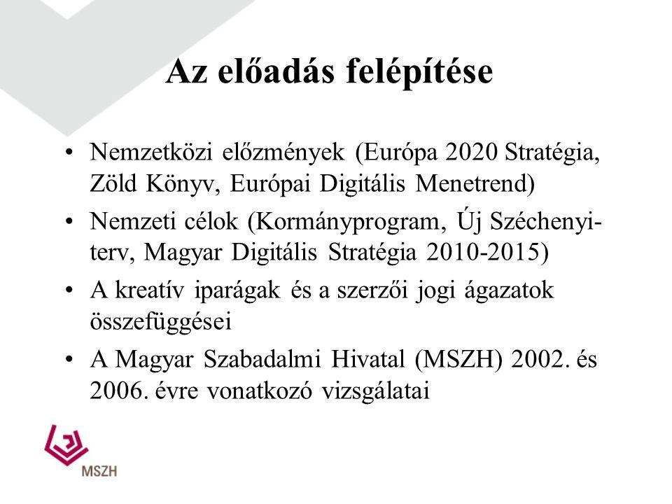 Az előadás felépítése •Nemzetközi előzmények (Európa 2020 Stratégia, Zöld Könyv, Európai Digitális Menetrend) •Nemzeti célok (Kormányprogram, Új Széchenyi- terv, Magyar Digitális Stratégia 2010-2015) •A kreatív iparágak és a szerzői jogi ágazatok összefüggései •A Magyar Szabadalmi Hivatal (MSZH) 2002.