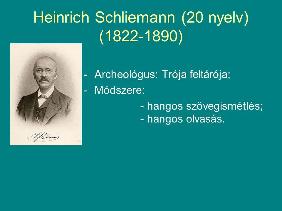 Heinrich Schliemann (20 nyelv) (1822-1890) -Archeológus: Trója feltárója; -Módszere: - hangos szövegismétlés; - hangos olvasás.