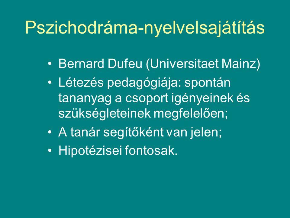 Pszichodráma-nyelvelsajátítás •Bernard Dufeu (Universitaet Mainz) •Létezés pedagógiája: spontán tananyag a csoport igényeinek és szükségleteinek megfelelően; •A tanár segítőként van jelen; •Hipotézisei fontosak.