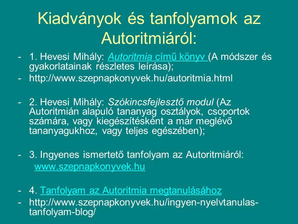 Kiadványok és tanfolyamok az Autoritmiáról: -1.