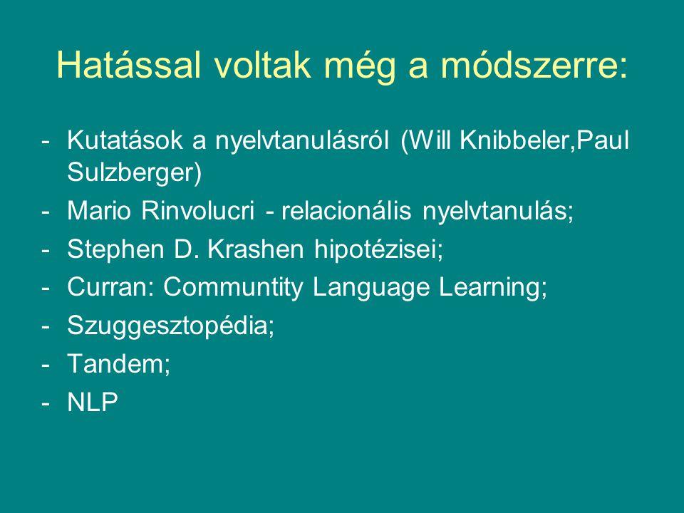 Hatással voltak még a módszerre: -Kutatások a nyelvtanulásról (Will Knibbeler,Paul Sulzberger) -Mario Rinvolucri - relacionális nyelvtanulás; -Stephen D.