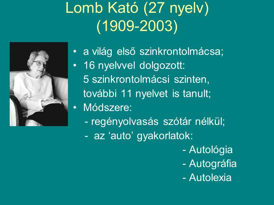 Lomb Kató (27 nyelv) (1909-2003) •a világ első szinkrontolmácsa; •16 nyelvvel dolgozott: 5 szinkrontolmácsi szinten, további 11 nyelvet is tanult; •Módszere: - regényolvasás szótár nélkül; - az 'auto' gyakorlatok: - Autológia - Autográfia - Autolexia