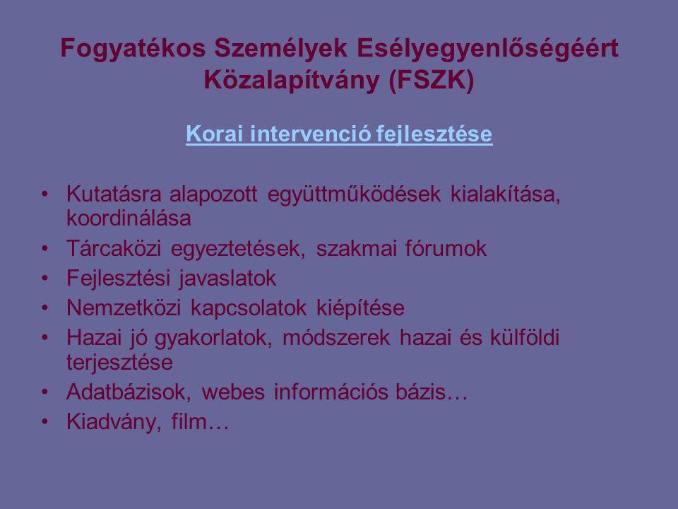 Fogyatékos Személyek Esélyegyenlőségéért Közalapítvány (FSZK) Korai intervenció fejlesztése •Kutatásra alapozott együttműködések kialakítása, koordinálása •Tárcaközi egyeztetések, szakmai fórumok •Fejlesztési javaslatok •Nemzetközi kapcsolatok kiépítése •Hazai jó gyakorlatok, módszerek hazai és külföldi terjesztése •Adatbázisok, webes információs bázis… •Kiadvány, film…