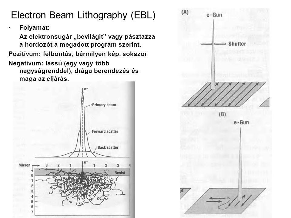 """Electron Beam Lithography (EBL) •Folyamat: Az elektronsugár """"bevilágit"""" vagy pásztazza a hordozót a megadott program szerint. Pozitívum: felbontás, bá"""